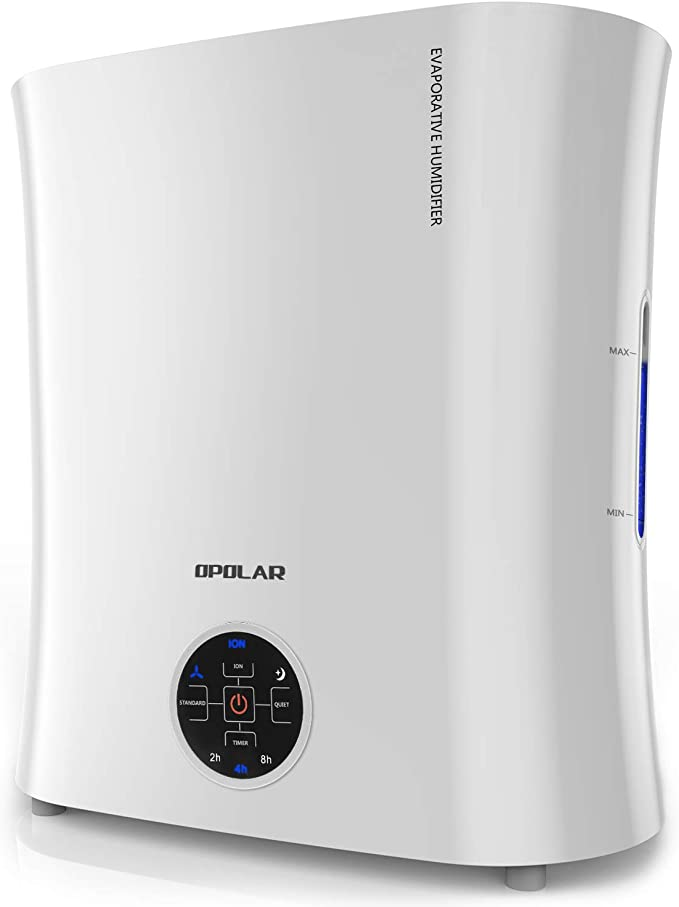 OPOLAR EV01 Digital Evaporative Humidifier for Babyroom & Bedroom, Purifying The Air w/Ionizer and Wicking Filter-No Mist & No Noise-Top Fill & Easy Clean-LED Panel