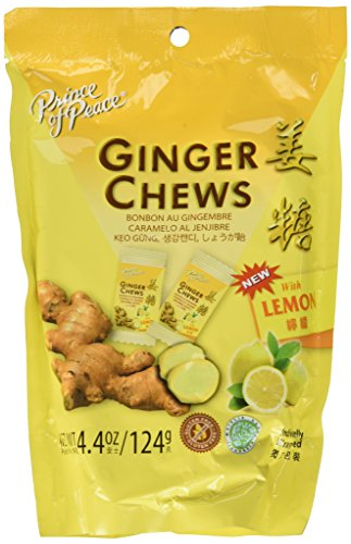 5 Packs of Prince of Peace 100 Percent Natural Ginger Candy Chews (Lemon, 4.4 Ounce) ()