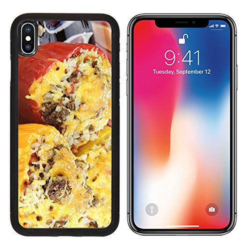 Beef Stuffed (MSD Premium Apple iPhone X Aluminum Backplate Bumper Snap Case IMAGE ID 20275504 Three colorful baked stuffed peppers with beef rice vegetables and cheese)