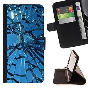 Jordan Colourful Shop - broken glass sun window blue sky For Samsung Galaxy S5 V SM-G900 - < Leather Case Absorci????n cubierta de la caja de alto impacto > -