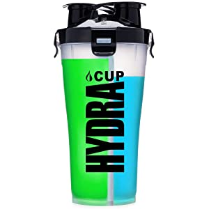 Hydra Cup - 36oz High Performance Dual Shaker Bottle, Patented PRE + Protein Shaker Cup, Leak Proof, Awesome Colors, Save Time & Be Prepared.