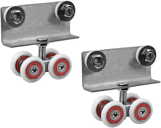 1 par) rueda colgante pequeña Agujero doble - esqueleto de aleación de aluminio Baño puerta de vidrio polea de puerta corredera Pequeña cuatro ruedas Rueda de riel colgante Accesorios de puerta cor: