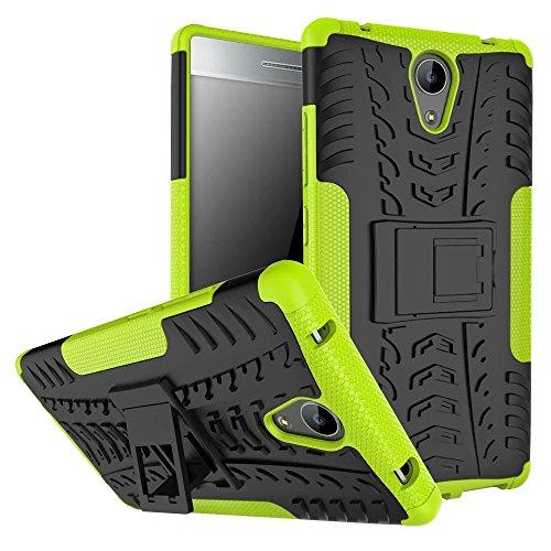YHUISEN Hyun patrón de doble capa híbrido armadura caso Desmontable Kickstand 2 en 1 resistente a los golpes duro resistente cubierta de la caja para Lenovo Phab 2 ( Color : White ) Green