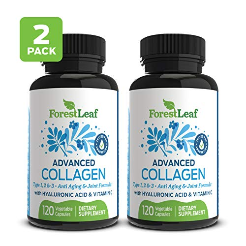 Advanced Collagen Supplement, Type 1, 2 and 3 with Hyaluronic Acid and Vitamin C - Anti Aging Joint Formula - Boosts Hair, Nails and Skin Health - 240 Veggie Capsules - by ForestLeaf - Joint Care Womens Formula