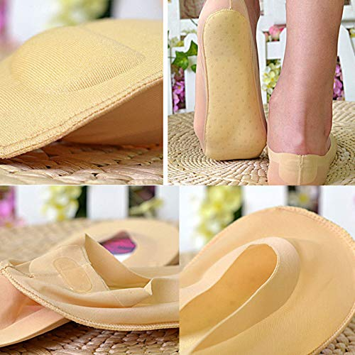 Invisible Low Cut Liner Casual Summer Autumn Orthopedic Foot Massage Health Care 1 Pairs 3D Padded Girls Womens No Show Nylon Sock with Sponge Cushion Liner Ohwens Arch Support 3D Socks