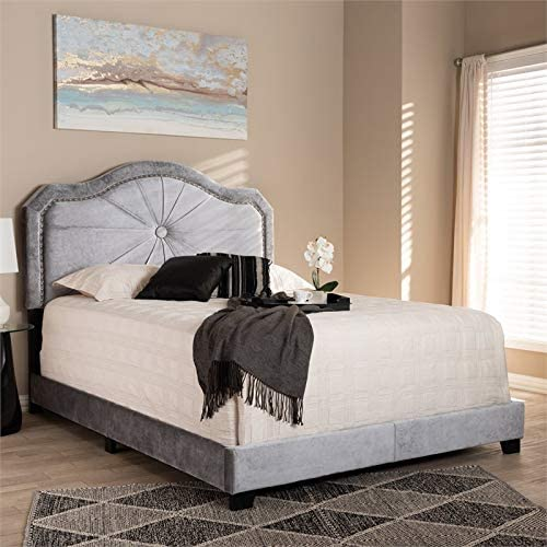 Baxton Studio Embla Grey Velvet Fabric Upholstered Full Size Bed