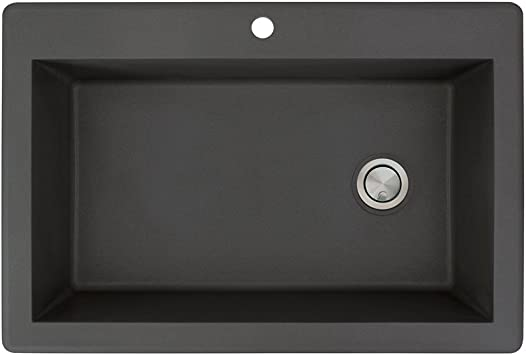 Transolid Rtss3322 09 Radius 22 In W X 33 In L Granite Super Single Drop In Kitchen Sink With 1 Pre Drilled Faucet Hole Black Amazon Com
