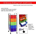 Sunbeam 10-Drawer Colorful Organizer Rolling Cart