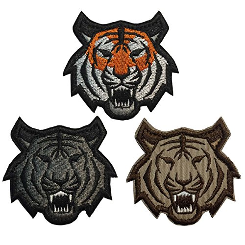 SpaceAuto Bundle 3 Pieces One Set 3D Embroidery Tiger Head Military Tactical Morale Badge Patch 2.48