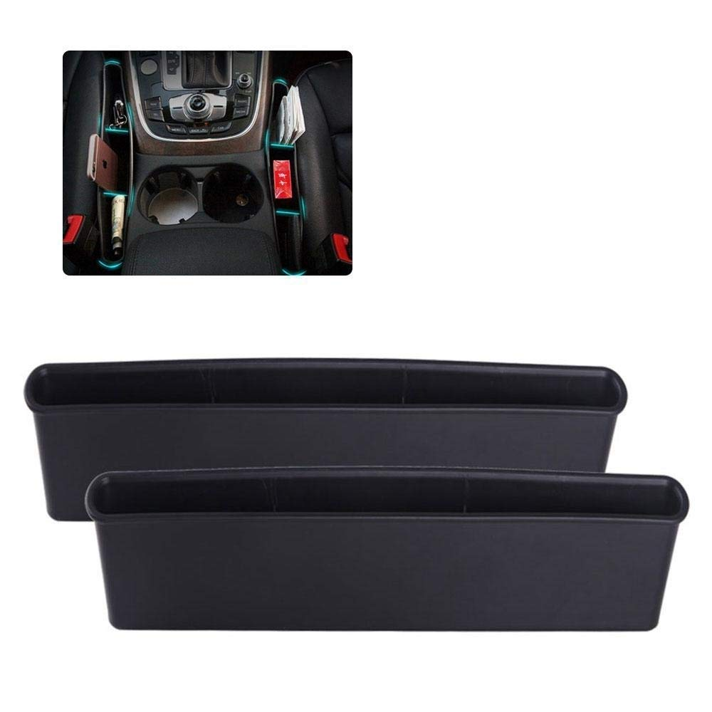 Car Seat Gap Filler - Aolvo 2 Pack Car Seat Organizer Car Seat Caddy Catcher Car Console Side Pocket Interior Accessories with 4 Separators for Cellphones/Keys/ Cards/Wallets/ Coins
