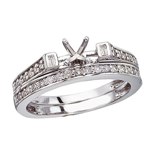 0.39 Carat (ctw) 14k White Gold Round Diamond Bridal Set Semi-Mount Engagement Band Ring - Size 5 Semi Mounted Set Ring