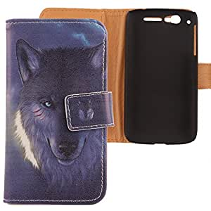 Lankashi Leather Cover Skin Case for Alcatel One Touch Ot-997d Ultra Wolf Design