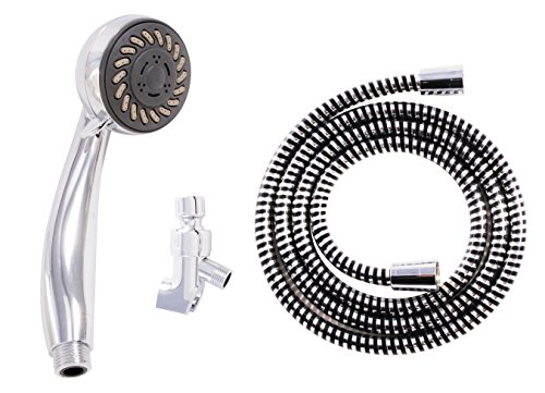 LDR 520 3120CP Complete 3 Function Handheld Massage Showerhead Set with 72-Inch Hose and Mount Bracket Chrome Finish