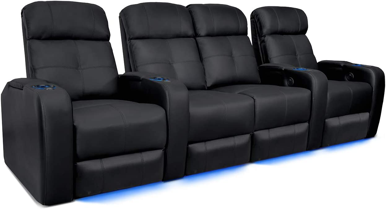 Valencia Verona Home Theater Seating | Premium Top Grain Leather, Power Recliner, Power Headrest, LED Lighting (Row of 4 Loveseat Center, with Power Headrest)