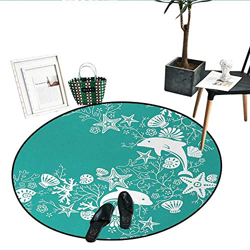 Dolphin Bamboo Patterns - Sea Animals Round Rugs Bedroom Dolphins Flowers Sea Life Floral Pattern Starfish Coral Seashell Wallpaper Indoor/Outdoor Round Area Rug (39