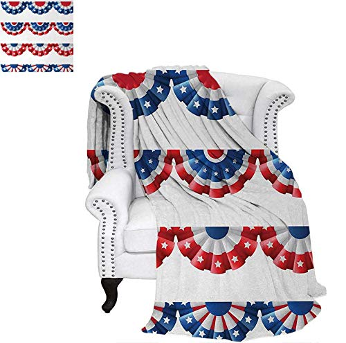 Lightweight Blanket Flag Round Bunting Election Ornament Politic Union Ribbon Event Pattern Print Custom Design Cozy Flannel Blanket 62