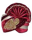 INMONARCH Mens Hand Work Velvet Turban pagari Safa Groom Hats TU1059 23H-Inch Maroon