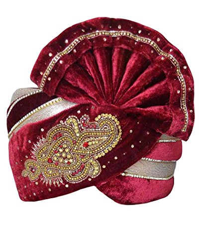 INMONARCH Mens Hand Work Velvet Turban pagari Safa Groom Hats TU1059 23H-Inch Maroon by INMONARCH