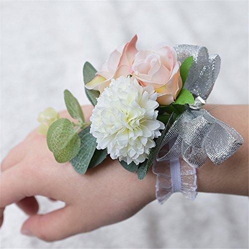 KUKI SHOP 2PCS Handmade Wrist Corsage Wristband Wedding Bridal Bridesmaid Romantic Wrist Flower Lace Wrist Band for Wedding, Party, Prom
