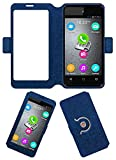Acm SVIEW Window Designer Rotating Flip Flap Case for Micromax Bolt D303 Mobile Smart View Cover Stand Blue
