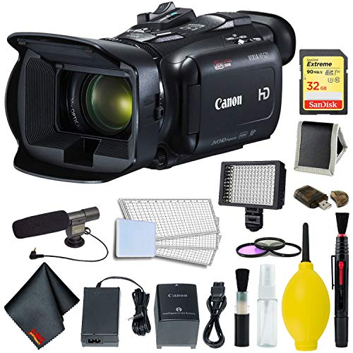 Canon VIXIA HF G21 Full HD Camcorder 2404C002 Bundle w/ 64GB Memory Card, Pro LED Video Light, and Professional Microphone