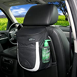 Car Garbage Can with Lid by Mainly Auto - Litter bin with a leakproof removable liner for easy cleaning - Best trash bag for your car or truck - Clean up your vehicle with a new trash container today