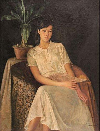 The Perfect Effectキャンバスの油絵「Portrait of a Lady with a Fan」、サイズ20x 26インチ/ 51x 66cm、このアート装飾プリントキャンバスは、フィットのジムギャラリーアートとホームギャラリーアートとギフトの商品画像