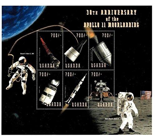 30th Anniversary of Apollo 11 Moon Landing - Sheet of 9 Collectors Stamps - Uganda