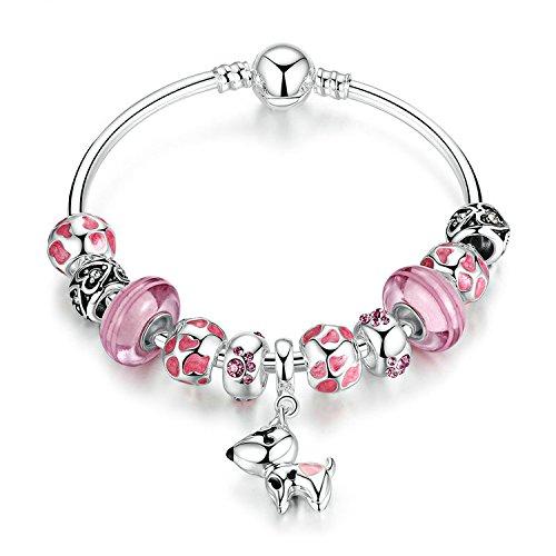 Ronglai Jewelry Puppy Dog Charm Bracelet Love Heart Charm Bracelet Pink Enamel Lucky Clover Charm Bracelet for Teens Girl