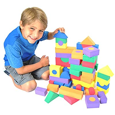 Non-Toxic 68 Piece foam Wonder Blocks for Children w/ Carry Tote - Non-Recycled Quality, Waterproof, Soft, Bright, Safe & Quiet: Toys & Games