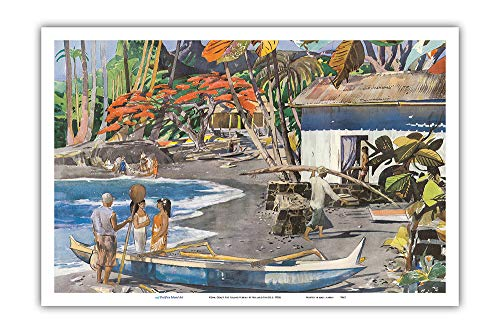 (Pacifica Island Art - Kona Coast, Big Island Hawaii - United Airlines - Vintage Airline Travel Poster by Millard Sheets c.1950s - Master Art Print - 12in x 18in )