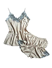 CHUNG Womens Imitation silk Sexy Cami Shorts Pajama Sets with Elegant Embrodery XS-L