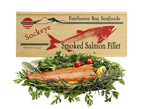 (Smoked Sockeye Salmon, 16 Oz. Filet, Wooden Legacy Box)