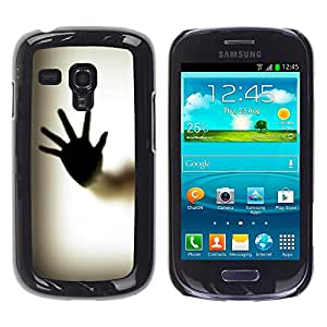 Qstar Arte & diseño plástico duro Fundas Cover Cubre Hard Case Cover para Samsung Galaxy S3 III MINI (NOT REGULAR!) / I8190 / I8190N ( Hand Palm Window Fingerprint Art Body)