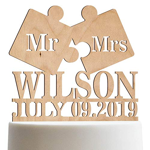 - Puzzle Piece Mr Mrs Wedding Cake Topper Personalized Cake Topper Customized Last name | Wooden Cake Toppers