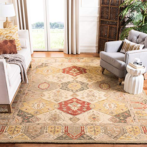 Safavieh Anatolia Collection AN530A Handmade Traditional Oriental Beige and Multi Wool Area Rug 6 x 9