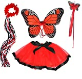 Girls Red and Black Monarch Butterfly Fairy Costume