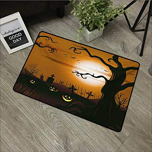 Moses Whitehead Easy Clean Mats Halloween,Leafless Creepy Tree with Twiggy Branches at Night in Cemetery Graphic Drawing,Brown Tan,for Indoor Outdoor Easy Clean Entry Way,35