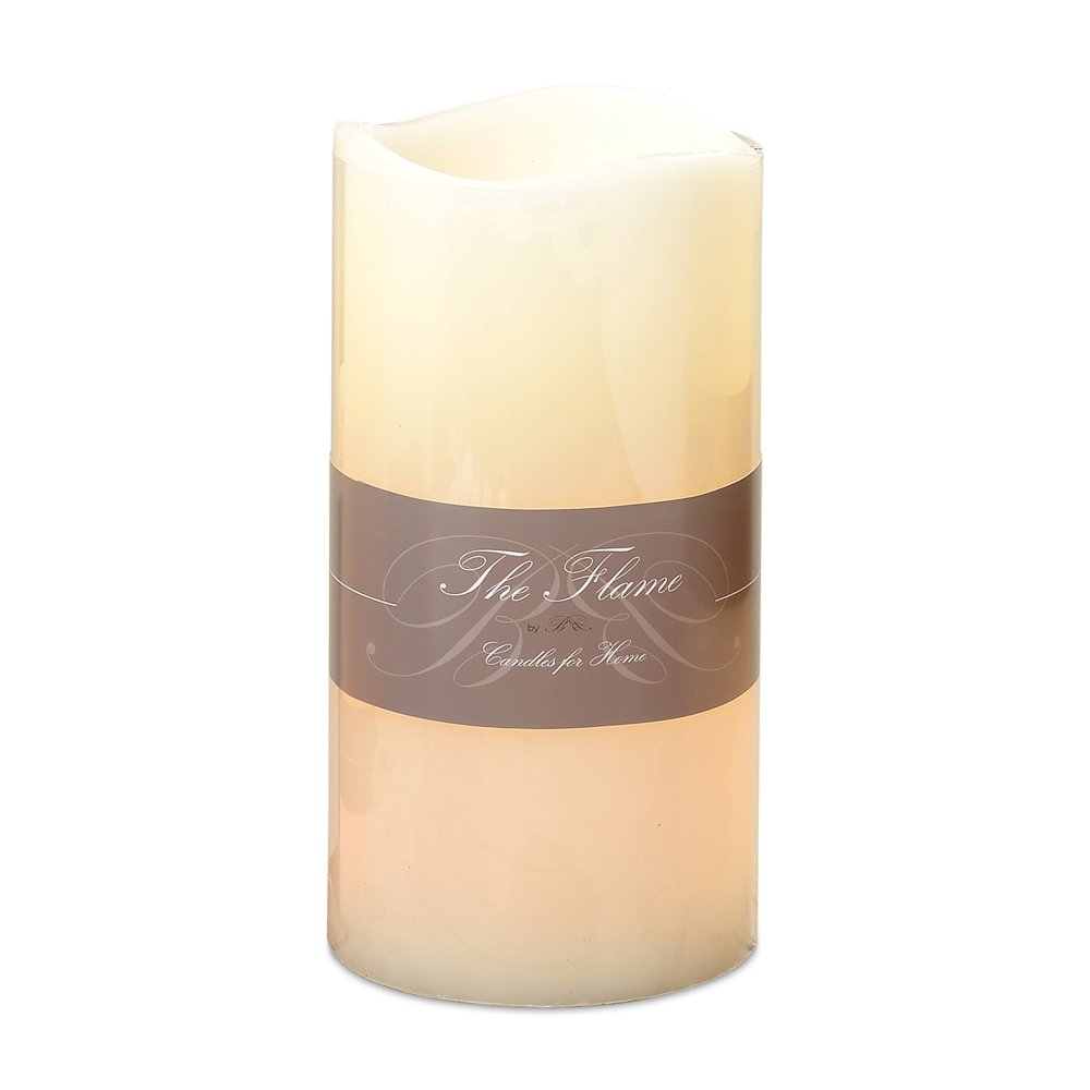 Whole House Worlds The Heritage Home Oversized Pillar Candle with 2 Flickering LEDS, Creamy Ivory Wax, Sturdy Plastic Body, 1 Ft T x 6 in D, (H30 D15cm) 3 AA Battery Powered, On-Off Switch, By by Whole House Worlds