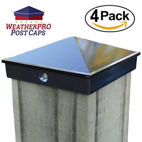 3 1/2) 4 PACK Black Powder Coated Aluminum - Mailbox, Lamp Post, Deck, Dock, Piling Caps ()
