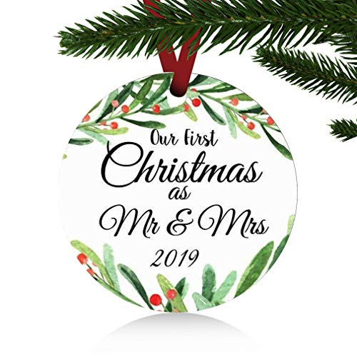ZUNON First Christmas Ornaments 2019 Our First Christmas as Mr. and Mrs.Personalized Ornament Newlywed Ornament with Flower Wreath Wedding Decoration 3