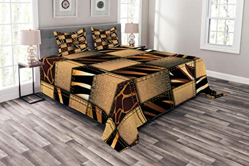 Ambesonne Safari Coverlet Set Queen Size, Patchwork in Safari Style Wilderness Stylized Design Art Print, Decorative Quilted 3 Piece Bedspread Set with 2 Pillow Shams, Brown Black