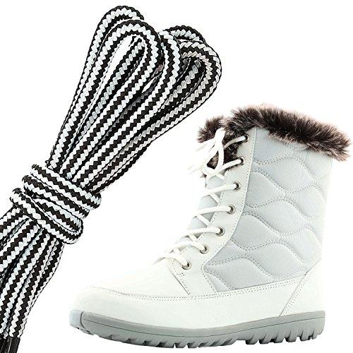 Dailyshoes Donna Confortevole Punta Tonda Caviglia Piatta Eskimo Inverno Neve Stivali Di Pelliccia, Bianco Avorio Pu