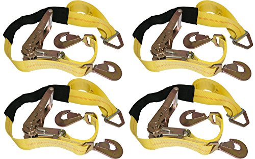 (4 Yellow Axle Straps Car Carrier Tie Down Straps with Ratchets Tow Straps )