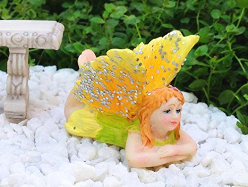 My Fairy Gardens Miniature Accessories -Daydream Girl YELLOW Glitter Wings - Mini Dollhouse Supply (Ladybug Daydream)