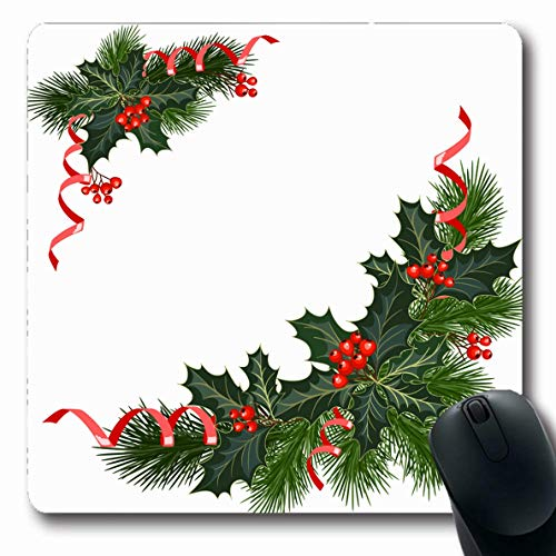 JAMRON Mousepad Oblong 9.8x11.4 Inches Garland Christmas Fir Tree Holly Berries Year Holidays Xmas Merry Ribbon Spruce Design Happy Non-Slip Rubber Mouse Pad Laptop Notebook ()