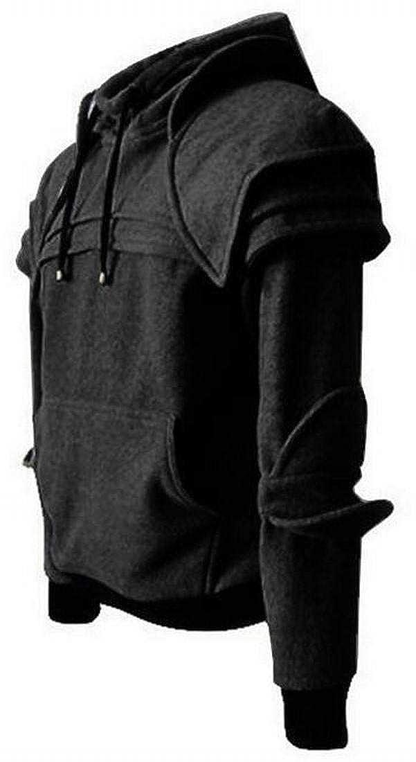 Mstyle Mens Hooded Drawstring Retro with Pocket Knight Mask Hoodies Sweatshirt