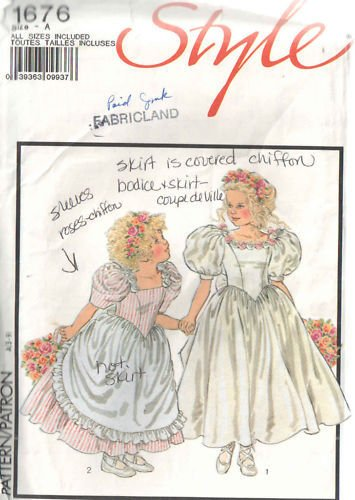 Style 1676, Sewing Pattern for Flower Girl, Special Occassion Dress with Underskirt Sizes 3 4 5 6 7 8 9