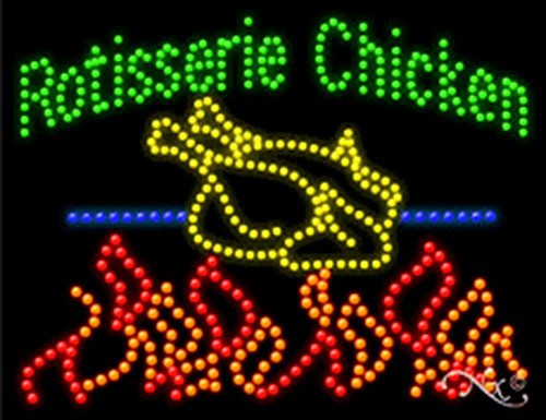 26x20x1 inches Rotisserie Chicken Animated Flashing LED Window Sign