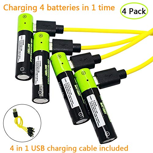 Rechargeable AAA Batteries 4 Pack with USB Charge Cable